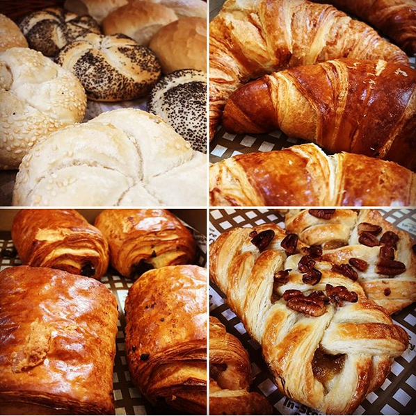 Freshly baked croissants and rolls